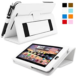 Snugg Nexus 7 Case - Smart Cover with Flip Stand & Lifetime Guarantee (White Leather) for Google Nexus 7 (2012)