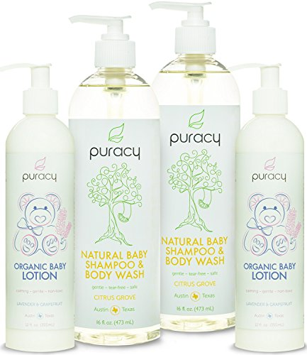 Puracy Natural and Organic Baby Care Gift Set, Baby Shampoo, Bubble Bath, Body Wash and Lotion, Sulfate and Paraben Free Skin Care Bundle, Developed by Doctors, (Pack of 4)