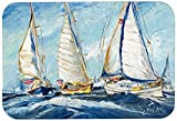 Caroline's Treasures JMK1027LCB Roll Me Over Sailboats Glass Cutting Board, Large, Multicolor