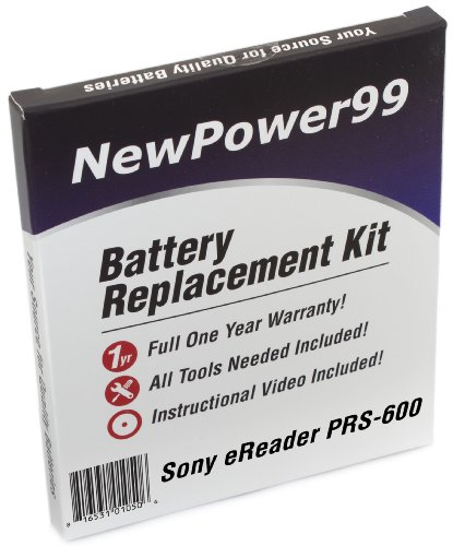 Battery Replacement Kit for Sony PRS-600 with Installation Video, Tools, and Extended Life Battery