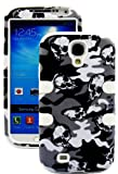 myLife (TM) White - Camouflage and Skulls Design (3 Piece Hybrid) Hard and Soft Case for the Samsung Galaxy S4
