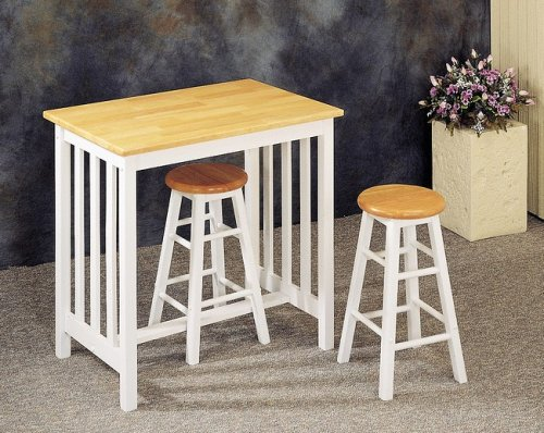 Image of 3pc Mission Style White & Natural Wood Bar Breakfast Table & Stool/Stools Set (VF_4108)