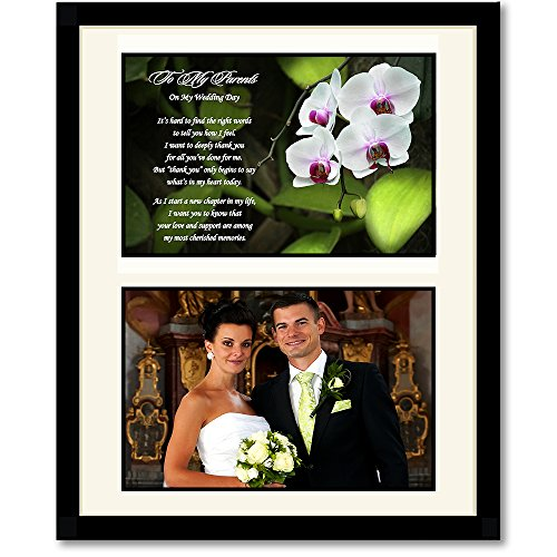 Parent Wedding Gift – Thank You from Bride or Groom – Add Photo Behind Mat Board in 8×10 Inch Frame