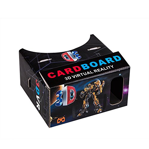 Wecharger 45mm Focal Length Virtual Reality Google Cardboard with Printed Instructions and Easy to Follow Numbered Tabs-Perfect fit for Samsung Galaxy Note 4 and Note 3,iPhone6 and iPhone6 PLUS-large Black Robot