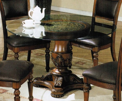 Cheap Dining Table with Glass Top and Floral Carved in Brown Finish (VF_AM6470)