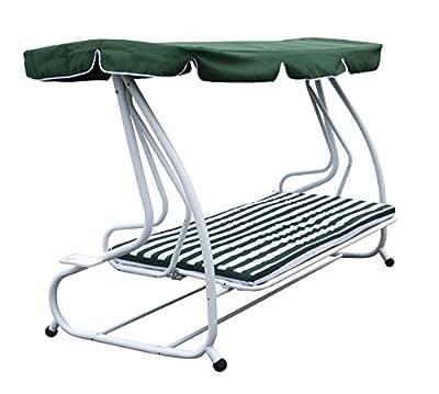 4-sitzer Funktions Hollywoodschaukel MIAMI, klappbar als Liege, grün/weiss von gartenmoebel-einkauf - Gartenmöbel von Du und Dein Garten