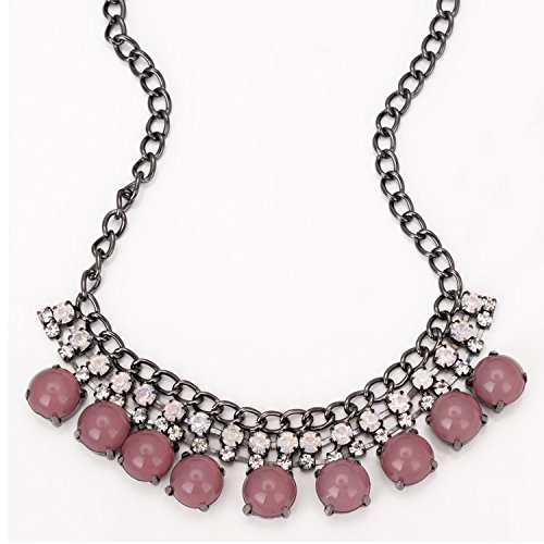 November's Chopin (TM) Bubble Bid 2 Rows Deluxe Choker Chunky Princess Necklace (Purple)