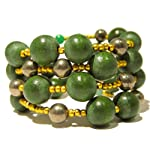 Pyrite Bracelet 03 Coil Fools Gold Green Wood Multi Strand Natural Stone Healing Wrap