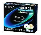 TDK 録画用ブルーレイディスク 25GB BD-R(1回録画用) 4X ホワイトワイドプリンタブル 5mmケース 10枚パック BRV25PWB10S