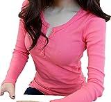 (ペプ) PEPU 胸元 セクシー シンプル カットソー レディース シャツ 長袖 トップス コットン 大人 無地 (XL, ピンク)
