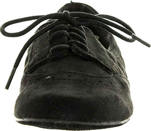 pictures of Not Rated Womens Stellar Style Oxford Flats Shoes,Black,6