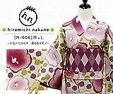 プレタ 袷 洗える着物 ナカノ ヒロミチ N-606/薄ベージュ:ツバキ (L寸)