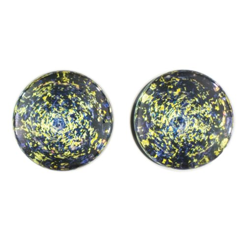 Purple Gold Foil Galaxy Glass Plugs - Double Flare - 9/16