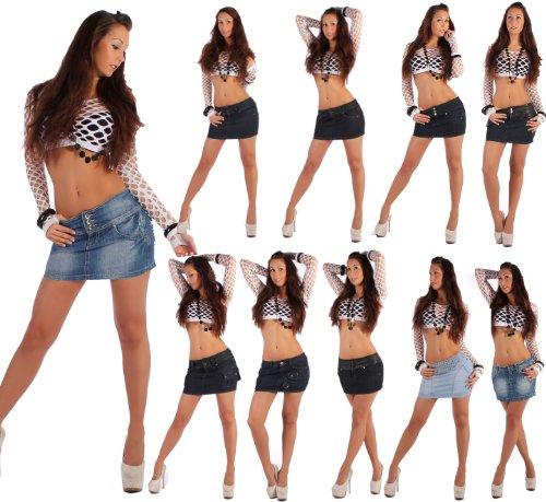 Sexy Damenrock Jeans Minirock Mini Rock Jeansrock Gogo Damenrock Leder-Optik XS/34-XL/42
