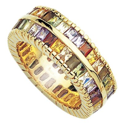 18K Gold Plated Multi Colored Cubic Zirconia Eternity Band Ring - Size 6