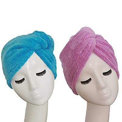 YYXR Microfiber Hair Turban Towel Wrap - Super Absorbent Drastically Reduce Hair Drying Time(2 pack puple & blue))