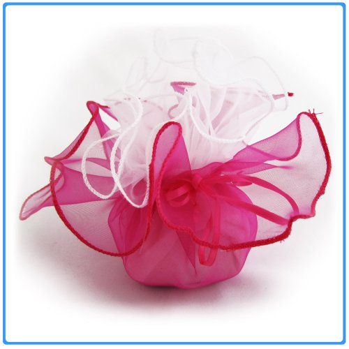 12x Designer Organza Gift Bags for Weddings & Party Favors - 11 inch square - Fusia Pink and White