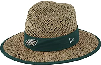 NFL Philadelphia Eagles Training Camp Straw Hat, Tan, One Size Fits All by New Era