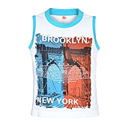 Orange and Orchid Boys Casual Printed Cotton Round Neck Sleeveless White Color T-Shirt