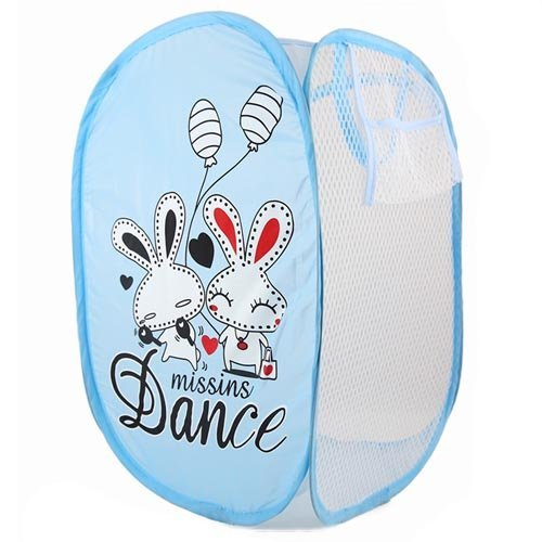 SymCool - Super Cute - Foldable Pop Up Hamper, Laundry Basket or Toy Chest for Storage - Cartoon Theme - White Rabbits (Blue)