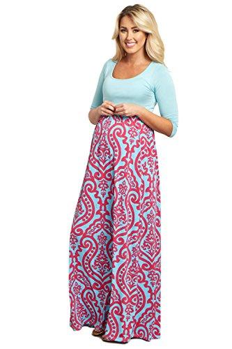 PinkBlush Maternity Aqua Damask Bottom Maternity Maxi Dress, XL (Pink And Blue Dress compare prices)