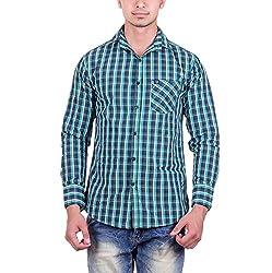Cotblend Men's Casual Shirt (COTBLEBD2-XL, Green , XL)