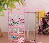 Market-one Pink Earring Stand Holder Display 48 Holes 10 Hooks Rack