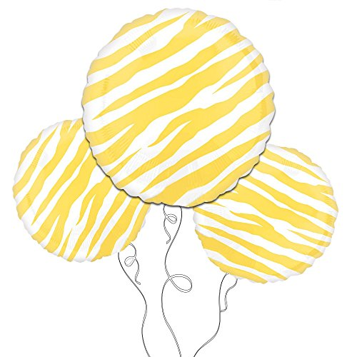 Yellow Zebra Print Mylar Balloon -3pk