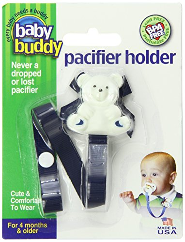 Baby Buddy - 2 Ferma ciuccio con orsetto, 0-36 mesi, colore: Blu navy/ Azzurro