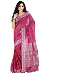 Roopkala Dark Pink Cotton Plain Saree With Thread Pallu
