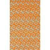 3' x 5' Wave Reflections Burnt Orange and Beige Hand Hooked Outdoor Patio Area Throw Rug