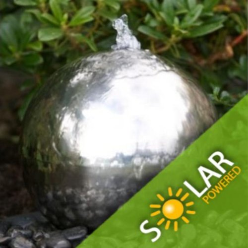 30cm / 12'' Solar Powered Sphere Stainless Steel Garden Water Feature