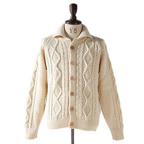 Oldderby Knitwear オールドダービー ニットウェア 編み込み カウチン C5 編み込み ニットジャケット アラン カーディガン セーター アランarann ブリティッシュ ウール メンズ 正規取扱品 (34(XS), 7.Natural)