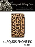 AQUOS PHONE EX SH-04E docomo対応 レオパード柄レザー手帳ケース 39 ゴールド(アクオスフォン ex SH-04E ドコモ)スマホ カバー スマホケース 携帯カバー