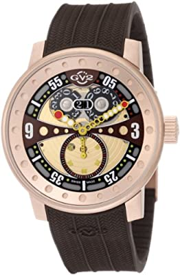 GV2 by Gevril Men's 4043R5 Powerball Rose-Gold PVD Big Date Brown Rubber Watch