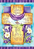 Easter Religious Cross The Lord Reigns Double Sided Garden Flag 12 x 18