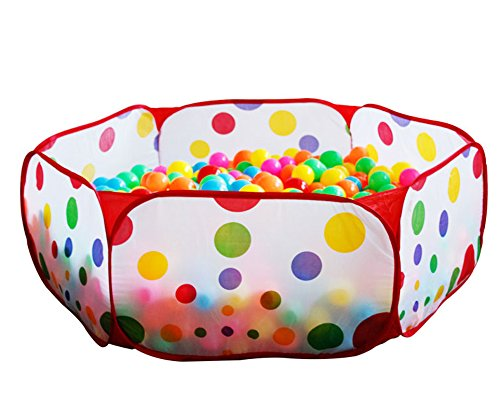 FocuSun® Portable Cute Hexagon Polka Dot Kids Playpen Ball Pit Indoor and Outdoor Easy Folding Play House Children Toy Play Tent with Tote Bag for Kids Gifts, 39.4″ X 19.7″ X 14.6″