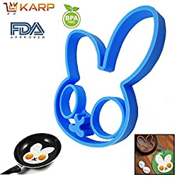 """KARPâ""""¢ Set Of 2 Rabbit Shape Silicone Fried Egg Mold Pancake Rings, Non Stick Bakeware Accessories Kitchen Tools,BPA free, FDA approved, 100% food grade silicone - Sky Blue colour"""