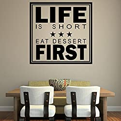 Decor Kafe Life First Wall Stickers Colour - Black 12*12(inch)