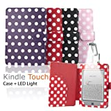"""eLifeStore� Stylish Polka Dot Kindle Touch / Kindle Paperwhite (3G) PREMIUM Leather Case Flip Cover Wallet with Magnetic Closure + Clip-On Bright White LED Reading Light for New 2012 Amazon Kindle Touch / Kindle Paperwhite Wi-Fi 3G 6"""" inch - Book Style (Red and White Polka Dot)by SAVFY"""