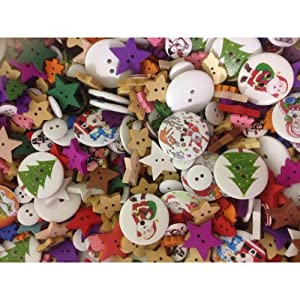 Bead and Button Company Pack of 50g Mixed Christmas Buttons-Assorted Sizes, Shapes and Colours from Bead and Button Company
