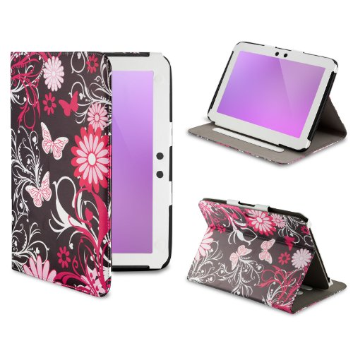32nd Design book wallet PU leather case cover for Google Nexus 10 plus screen protector and cleaning cloth in Gerbera