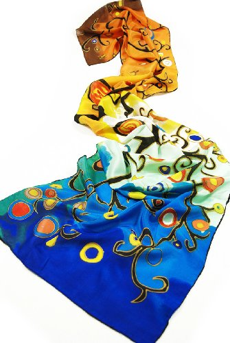 Prettystern P170 - 160cm long Silk Stola Scarf based on Gustav Klimt Printing - Stoclet-Fries - Life Tree (multi-colours) images