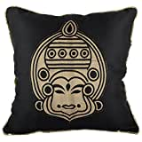 RAVRAUN Silk 5 Piece Cushion Cover Set - Black, 16X16 Cms