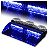 WoneNice 16 LED High Intensity LED Law Enforcement Emergency Hazard Warning Strobe Lights 18 Modes for Interior Roof / Dash / Windshield with Suction Cups (Blue)