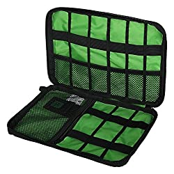 niceEshop TM Travel Cable Organiser Electronic Accessories Travel Bags Green Black