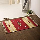 インド綿 手織り玄関マット 約50×70cm「CANYON/キャニオン」 レッド
