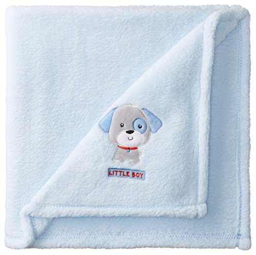Cutie Pie Baby-Boys Newborn Velboa Blanket with Applique On Hanger-Puppy, Light Blue, One Size