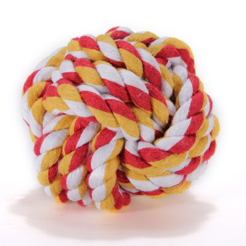 Pet Puppy Dog Cat Braided Cotton Knot Chew Rope Teeth Clean Healthy Tough Play Ball Toy 7Cm Dia (Random Color) front-485457