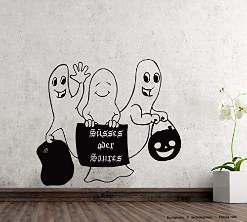 Sticker mural Halloween autocollant trois petites fantôme des Douceurs fantôme aigre, Vinyle, Crème, 59,50 cm x 52,20 cm (Gr1)